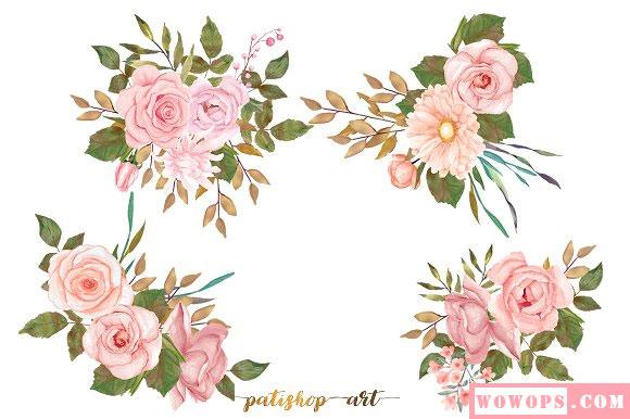 手绘水彩粉红色花卉花簇装饰插画素材